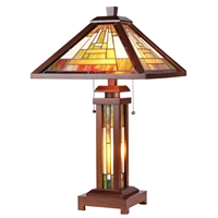 CHLOE Lighting GAWAIN Tiffany-style Mission 3 Light Double Lit Wooden Table Lamp