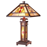 CHLOE Lighting GARETH Tiffany-style Mission 3 Light Double Lit Wooden Table Lamp
