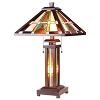 CHLOE Lighting PERCIVAL Tiffany-style Mission 3 Light Double Lit Wooden Table Lamp