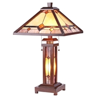 CHLOE Lighting KAY Tiffany-style Mission 3 Light Double Lit Wooden Table Lamp