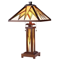 CHLOE Lighting LAMORAK Tiffany-style Mission 3 Light Double Lit Wooden Table Lamp