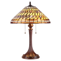 CHLOE Lighting PERCY Tiffany-style 2 Light Mission Table Lamp