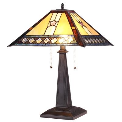 CHLOE Lighting TRISTAN Tiffany-style 2 Light Mission Table Lamp