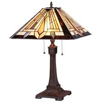 CHLOE Lighting DENTON Tiffany-style 2 Light Mission Table Lamp