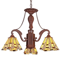 "CHLOE Lighting PROGRESSIVE Tiffany-style Mission 3 Light Mini Chandelier 22"" Wide"