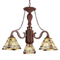 "CHLOE Lighting KINSEY Tiffany-style Mission 3 Light Mini Chandelier 23"" Wide"