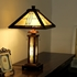 CHLOE Lighting EARLE Tiffany-style Mission 3 Light Double Lit Wooden Table Lamp
