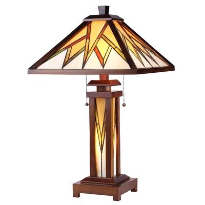 CHLOE Lighting LAMORAK Tiffany-style Mission 3 Light Double Lit Wooden Table Lamp