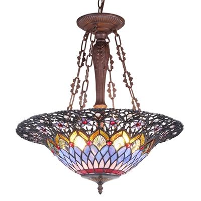 CHLOE Lighting CAMILA Tiffany-style 3 Light Inverted Ceiling Pendant