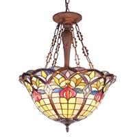 CHLOE Lighting LORETTA Tiffany-style Victorian 3 Light Inverted Ceiling Pendant