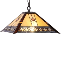 CHLOE Lighting TRISTAN Tiffany-style 2 Light Mission Hanging Pendant Fixture